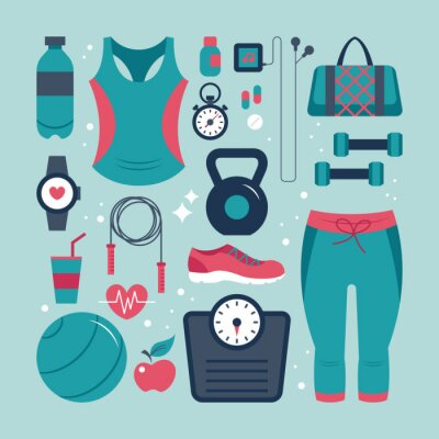 Sticker Fitness and health flat icons set