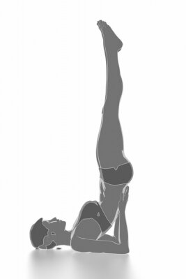 Sticker Fitness and stretching on white isolated - warm up concept