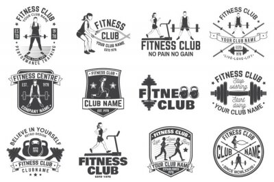 Sticker Fitness club badges. Vector. For fitness centers emblems, gym signs and others.