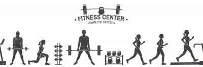 Sticker Fitness club seamless pattern or background. Vector illustration.