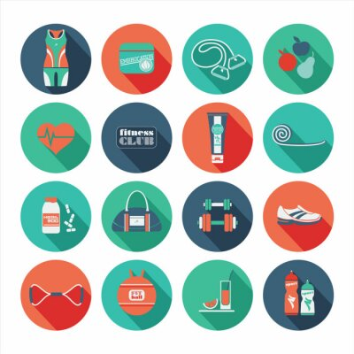 Sticker Fitness Icons set. Flat design