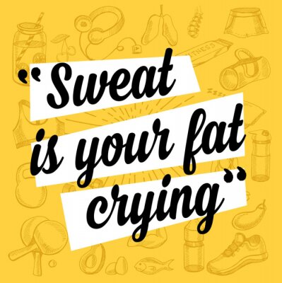 Sticker Fitness motivation quote poster.