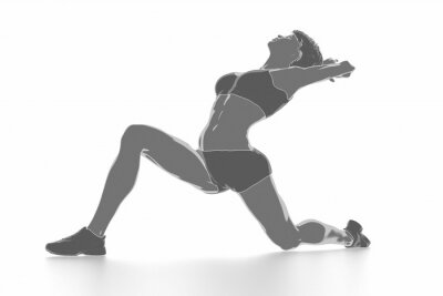 Sticker Fitness woman stretching on white isolated - warm up concept