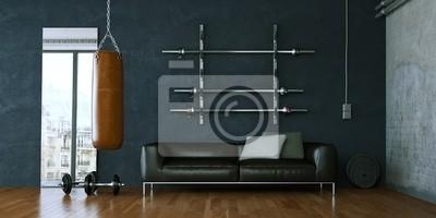Sticker Fitnessraum mit Sofa