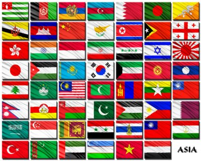 Sticker Flags of Asian countries in alphabetical order