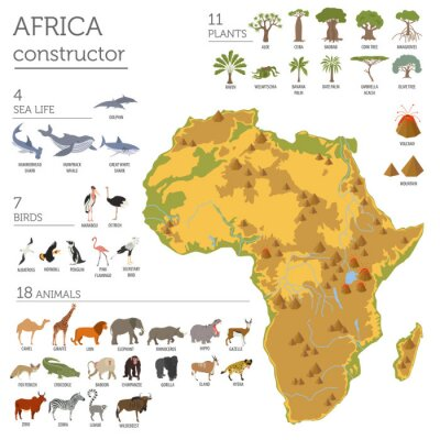 Sticker Flat Africa flora and fauna map constructor elements. Animals, b