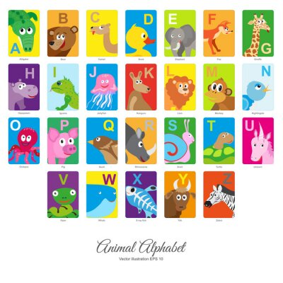 Sticker Flat Animal Alphabet