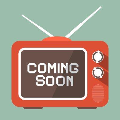 Sticker Flat Design Coming Soon Vector Title on Retro TV Screen