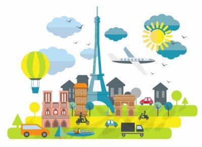 Sticker Flat design illustration with Eiffel tower in Paris town
