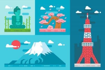 Sticker Flat design japan landmarks set