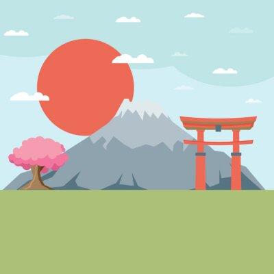 Sticker Flat design landscape of Japan illustration vector
