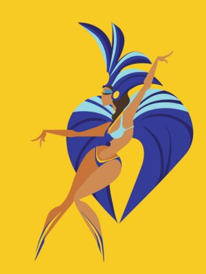 Sticker flat geometric design of dancing samba queen