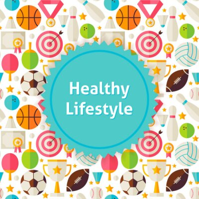Sticker Flat Vector Sport and Fitness Background