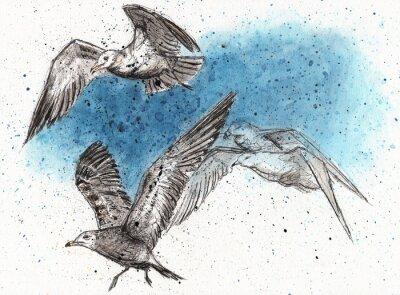 Sticker Flock of seagulls