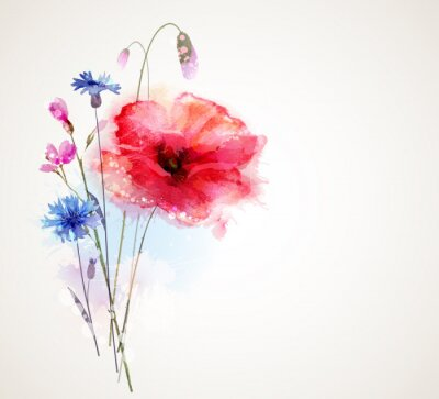 Sticker Floral bouquet with poppy and cornflowers