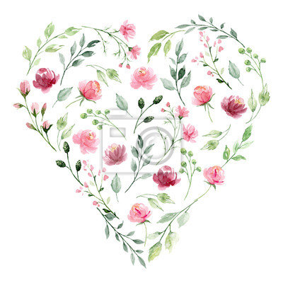 Sticker Floral heart with watercolor pink flowers, green leaves. For decoration background, invitation, greeting card, poster, stickers, icons and other. Hand painting. Isolated on white background.