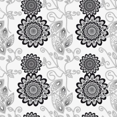 Sticker Floral ornament in black and white.