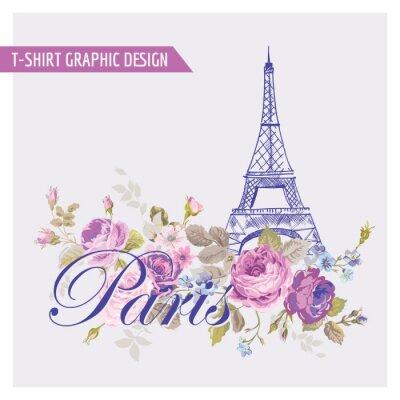 Sticker Floral Paris Graphic Design - for t-shirt, fashion, prints