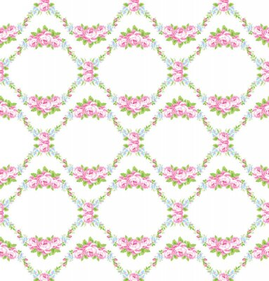 Sticker Floral pattern with garden pink roses