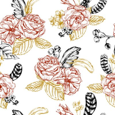 Sticker Floral seamless background with roses and feathers