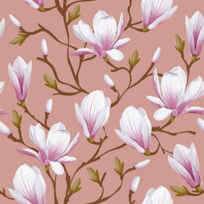 Sticker Floral seamless pattern - magnolia