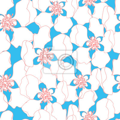 Sticker Floral seamless pattern. Vector background with flowers.