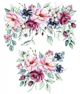 Sticker Floral set, watercolor  flowers bouquets . Pink peonies and burgundy roses hand drawing. Isolated on white. Perfectly for web design, holiday decoration and print on greeting card, wedding invitation.