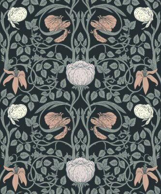 Sticker Floral vintage seamless pattern for retro wallpapers. Enchanted Vintage Flowers. Arts and Crafts movement inspired.