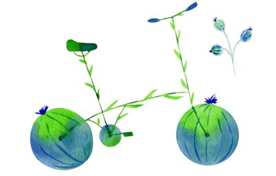 Sticker Flower bike. Hand drawn watercolor illustration on paper. Green and blue bicycle flower with calyx round fruit buds briar and leaves. Isolated on white background