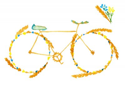 Sticker Flower spring summer bike. Hand drawn watercolor illustration on paper.  Yellow bicycle with meadow flowers blue and ears of cereal: wheat, rye. Isolated on white background