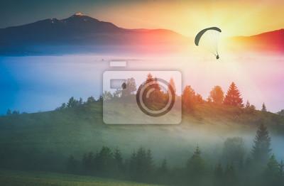 Flying above foggy valley. Instagram stylisation