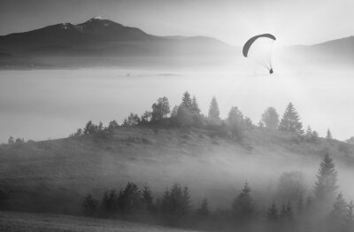 Flying above foggy valley. Monochrome colors