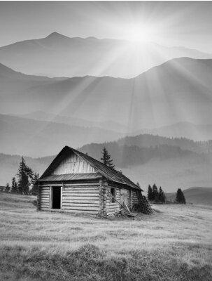 Foggy mountain village. Black and white