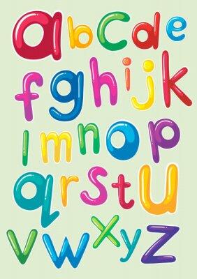Sticker Font design with english alphabets