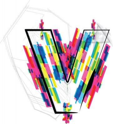 Sticker font Illustration. LETTER v. Vector illustration