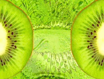 Sticker Food background with green kiwi slices.