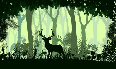 Sticker Forest background with wild deer of trees
