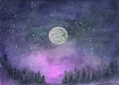 Sticker Forest in the fog, hills. Silhouette of flying birds. Moon in starry sky. Hand-drawn, watercolor texture. Purple background.