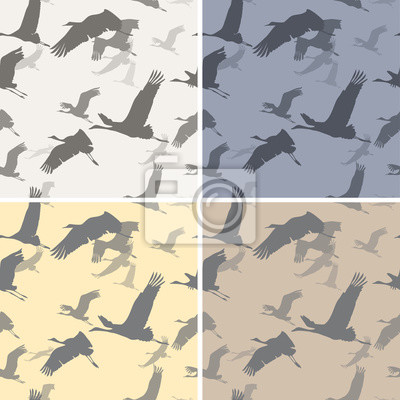 Sticker Four seamless texture with silhouettes flying cranes