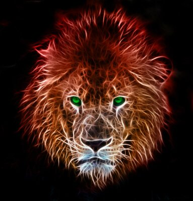 Sticker Fractal digital fantasy art of a lion on a isolated background