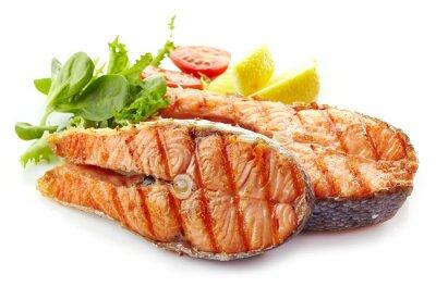 Sticker fresh grilled salmon steak slices