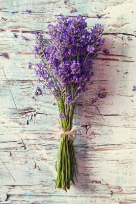 Sticker Fresh lavender on wood