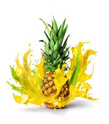 Sticker Fresh pineapple fruit juicy taste splash