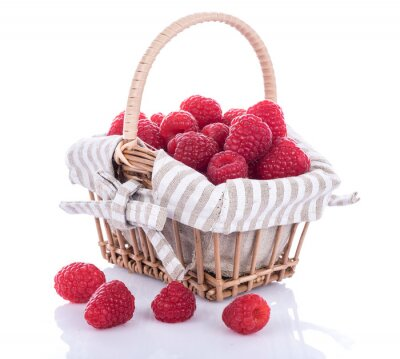 Sticker Fresh raspberries in a basket