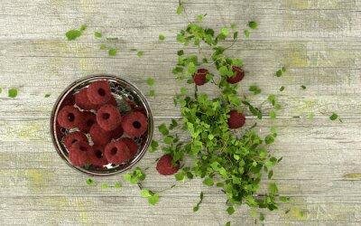 Sticker Fresh raspberries in ornamented glass bowel