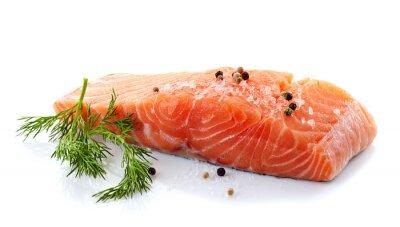 Sticker fresh raw salmon