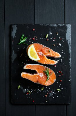 Sticker Fresh slices of salmon with lemon and spices
