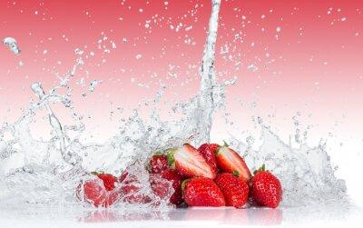 Sticker Fresh Strawberries with water splash