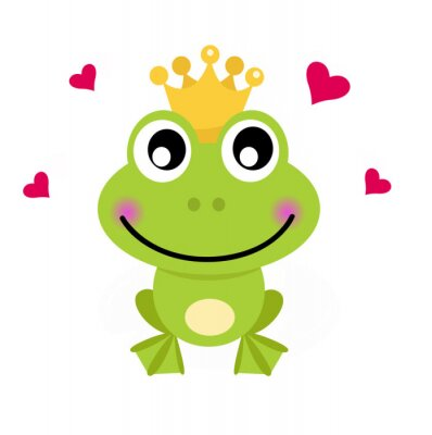 Sticker Frog cartoon prince isolated on white