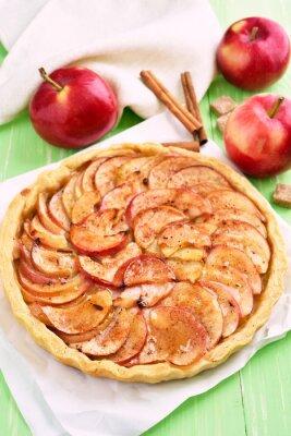 Sticker Fruit apple pie on baking paper